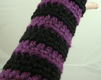 Purple and Black Striped Crocheted Arm Warmers (size M-L) (SWG-AW-MB03)