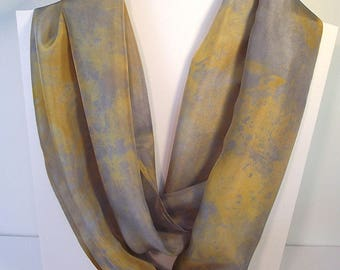 "Hand Dyed Silk Infinity Scarf - 11 x 76"", Gold and Grey, Long Infinity Loop"