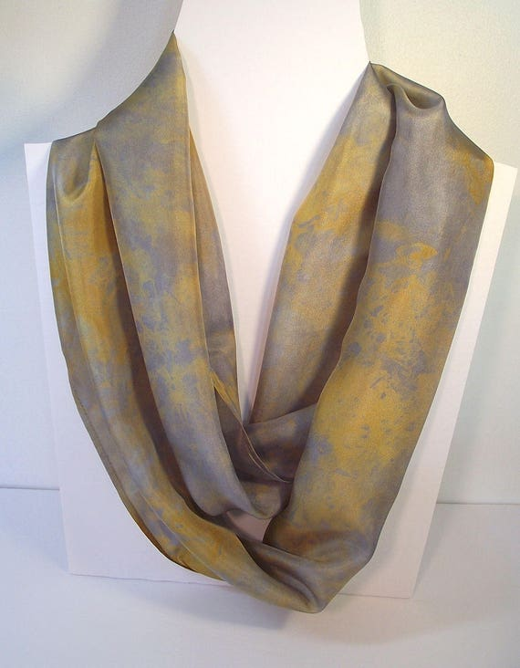"""Hand Dyed Silk Infinity Scarf - 11 x 76"""", Gold and Grey, Long Infinity Loop"""