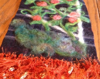 Roses on Trellis Needle Felted Wall Hanging