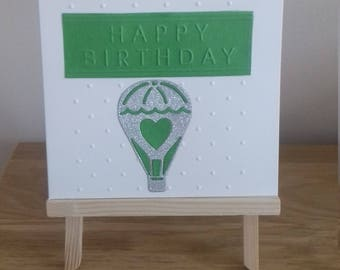 Handmade child's birthday card, Hot air balloon birthday card, Die cut cards