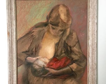 Vintage Mother And Child Framed Painting