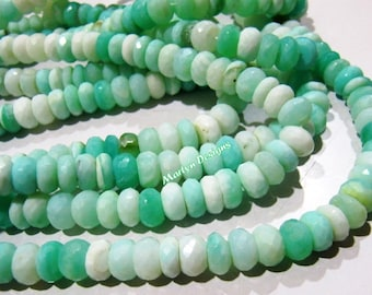 AAA Quality Genuine Peruvian Opal Rondelle Faceted Beads , Natural Peruvian Opal Beads 9-10mm , Strand 13 inch long , Semi Precious Gemstone