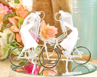 LGBT Wedding Cake Topper, Mrs and Mrs Silver Wedding Road Bikes with Black Wheels, Handmade Wedding Cake Topper