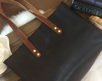 Leather Tote Bag, Rustic Leather, Unlined Leather Bag, Raw Edge Leather Bag