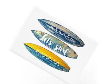 Ceramic Fridge Magnet, Let's Surf Board Blue Waves Inspirational Ocean Sea Fridge Magnet, Refrigerator Magnet, FM152
