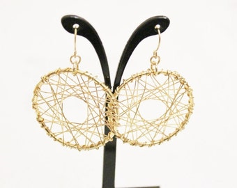 Vintage Gold Wire Wrap Earrings, Gifts Under 20
