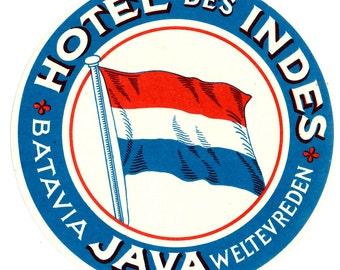 Genuine Vintage 1930s-'40s Luggage Label Hotel des Indes, Batavia, Java -- Free Shipping!