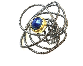 Lapis Ring on wire (made to order), Lapis Lazuli silver ring, big lapis ring, blue Lapis Lazuli, oxidized ring, giant ring, big wire ring
