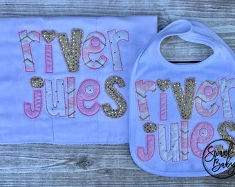Personalized Burp Cloth - Baby Shower Gift - Burp Cloths - Baby Girl Gift - Personalized Baby Gift - Bib and Burp set - Pink and Gold baby