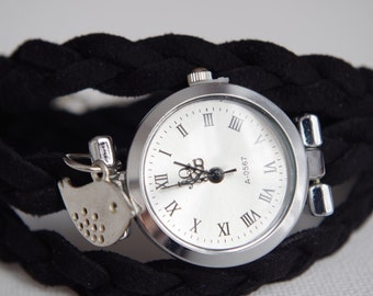 Wrist Watch Woman Black Wrap Watch  Women Teens Wrist Tattoo Cover Bird Charm Wrist Watch Silver Bird Bracelet  Watch for her Fashion