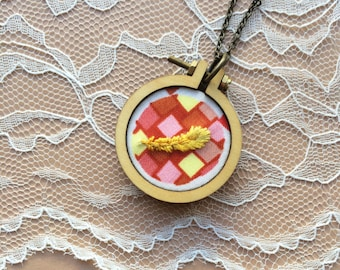 Mod Inspired Feather Necklace, Mini Embroidery Hoop Jewelry, Mini Hoop Pendant, Gifts Under 50, Gifts For Her