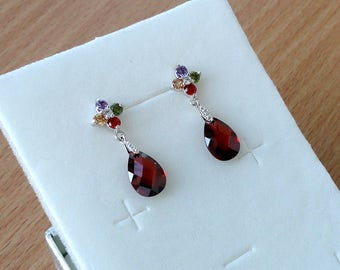 Red Earrings Ruby Red Drop Earrings Red Crystal Earrings Ruby Earrings Gift for Women Dangling Earrings Rhinestone Earrings Red Jewelry