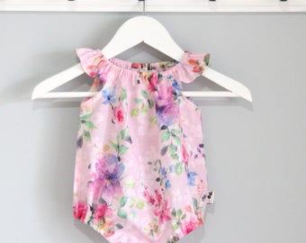 Rainbow Rose Pink Blush Baby Girls Romper / Onesie / Playsuit