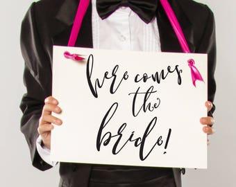 Here Comes The Bride Sign   Modern Wedding Signage   Flower Girl Ring Bearer Banner Handmade in USA   1611 BW