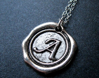 initial necklace, initial wax seal necklace, initial necklaces, silver initial necklace, initial silver necklace, monogram necklace, for her