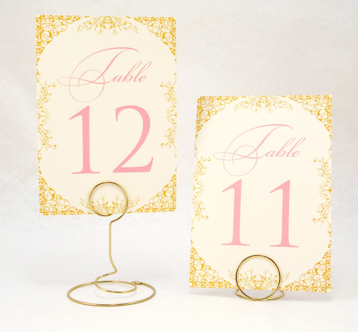 Gold Blush Pink and Ivory Wedding Table Number Cards