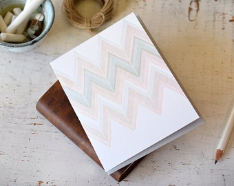 Pale Chevron Letterpress Notecard