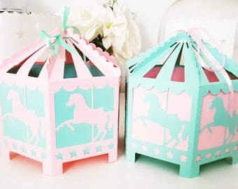Large box dragees for table holiday-themed carousel for godmother-christening-gift-home parrrain table