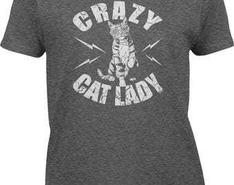 Crazy Cat Lady - Sunglasses Womens Short Sleeve T-shirt -Adopt Kitty Snuggle Cuddle Wine Single Girlfriend Boyfriend -DT-01176