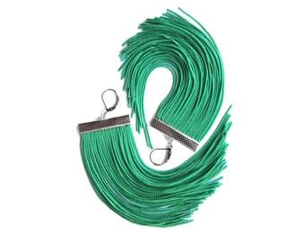 Green Short Fringe Earrings / Bottle Green Dangle / Kelly Green Chandelier / Emerald Green Large Statement Earrings