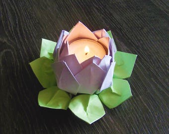 Candle holder candle light green origami Lotus Flower and white home decor baptism anniversary wedding Christmas candle