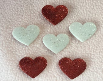 HEART STRINGS ~ Dress It Up Buttons ~ 6 Glittery Hearts ~ Red - White