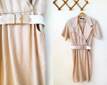 60s tan collared short sleeve midi dress with belt, approx. size 10