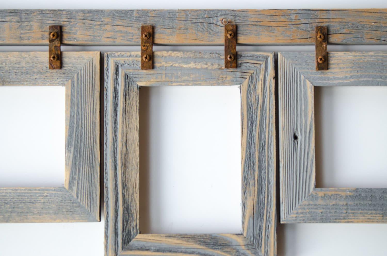 Barnwood Collage Frame. 3 4x6 Multi Opening Frame. Rustic
