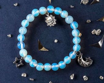 Moonstone Bracelet, Star Charm Bracelet, Sky Blue Bracelet, Celestial Charms, June Birthstone, Charity Bracelet, Charity Donation