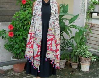 block printed cotton long scarf / boho scarf/kalamkaari wrap/summer stole/tassel scarf