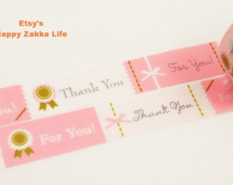 Japanese Washi Masking Tape - Thank You & For You - Pink - 5.5 Yards