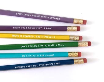 Women of Black History inspirational pencil set - feminist pencils - personalized pencil Rosa Parks - Sojourner Truth - black history month