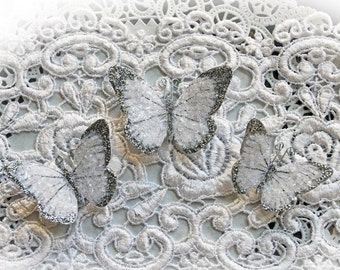Reneabouquets Premium Paper Butterfly Set - Silver Tinsel Glitter Glass Butterflies