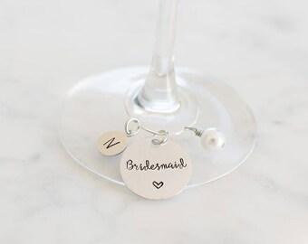 Bridesmaid Gift Set of 6 - Wedding Wine Charms - Bridesmaid Gift Set - Personalized Bridesmaid Gift - Personalized Wine Glass Charms