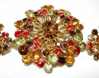Vintage Rhinestone Pin & Earring Set Divine Amber, Orange and Chocolate Rhinestones