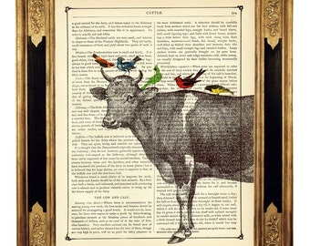 Cow with Birds Dictionary Art Country Chic Cottage Farm Poster - Vintage Victorian Book Page Art Print Steampunk