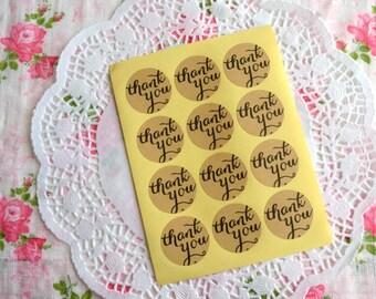 Brown Kraft Sticker 36pcs, Thank You Label, Round Sticker, Wedding Sticker, Thank You Tag, Thank You Sticker, Envelope Seals, Adhesive Label