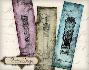 Time To Read Bookmarks instant download printable digital collage sheet VD0500