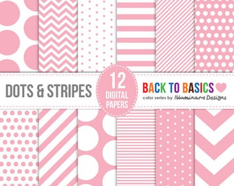 Pink Digital Paper: Digital Paper Pack in Pink Chevron, Polka Dots and Striped Patterns - Back to Basics Series - Commercial Use Ok