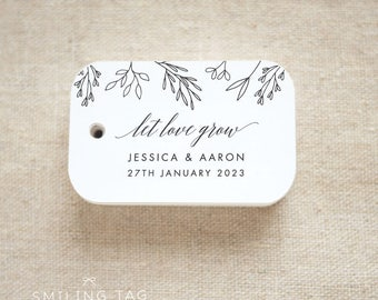 Let Love Grow Wedding Favor Tags - Personalized Gift Tags - Custom Wedding Favor Tags - Bridal Shower Tags - Set of 20 (Item code: J693)