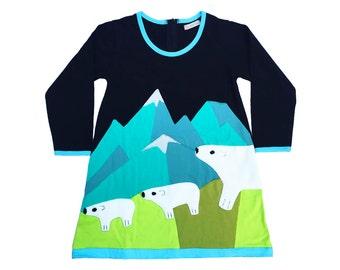 Polar Bear Dress in Black, Teal & Olive, Winter Dress, Girls Dress, Arctic, Snow, Mountains
