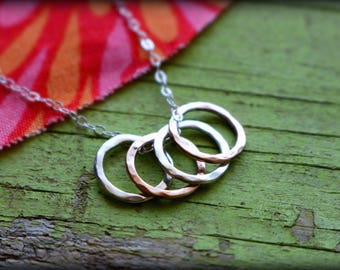 Four Petite Rings Necklace - 4 Infinity Circles Sterling Silver Rose Gold Filled Mother Children Family Memorial Gift Mom Grandmother