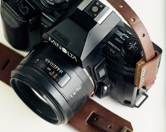 Leather Camera Strap, Dark Brown, Adjustable, Fits Any Camera, Other Colors Available