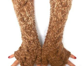 Fingerless Gloves Brown Shades Cabled Warm Arm Warmers Extra Long