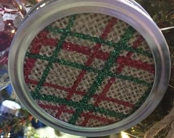 Mason Jar Lid Ribbon Ornament