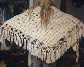 Cream colored crocheted Shawl