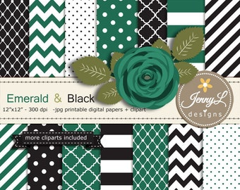 Emerald and Black Digital Paper, Emerald Green Flower Clipart for Wedding, Bridal Baby Shower, Birthday, Digital Scrapbooking, Planners