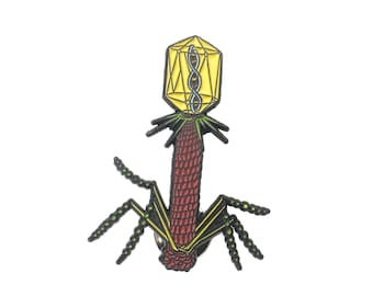 Bacteriophage Virus Pin - Soft Enamel Collector Art Pin - T4