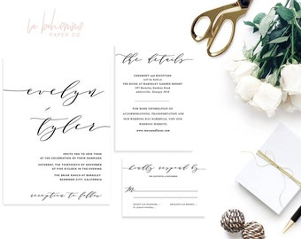 Printable Wedding Invitation Suite / Calligraphy / Wedding Invite Set - The Modern Elizabeth Suite